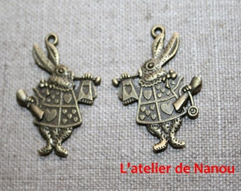 set of 2 color alice rabbit charms antique bronze 20 * 35 mm