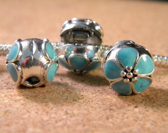 3 clip clasp - blocker stopper for European bead bracelet style pandor @ 11 x 1 mm-turquoise-C51 cherry blossom
