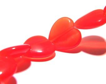 8 beads eye glass cat - 14 mm - red heart - F158-1