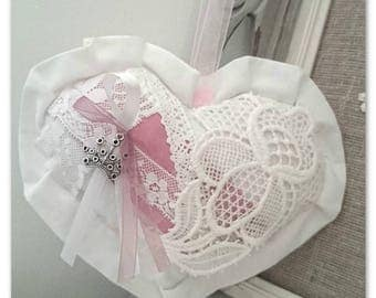 Heart door pillow Shabby Chic style