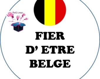 1 cabochon clear 25 mm Belgian flag theme
