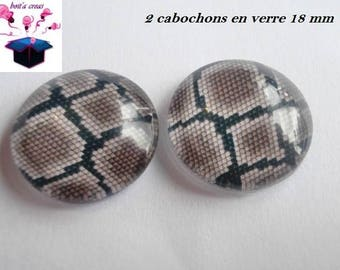 2 glass cabochons domed 18mm theme lizard skin