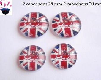 2 cabochons 25 mm / 2 cabochon 20 mm flag theme