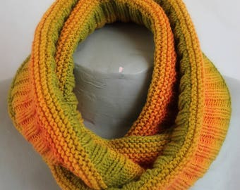 double cowl gradient round orange and green