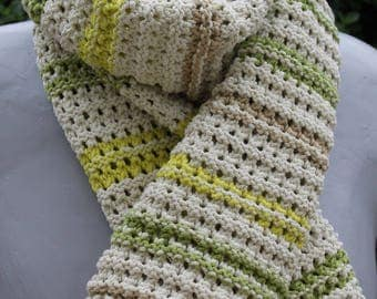 scarf lime and soft green between 2 seasons openwork woman