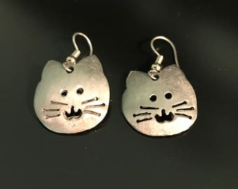 Pewter Cat Earrings
