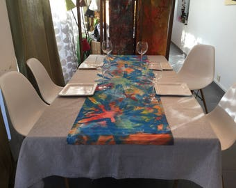 Table runner colorful dominant hand painted cobalt blue fabric