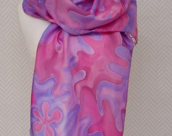 """Woollen scarf shawl silk pongee """"Gemstone"""" Pink Purple Burgundy"""