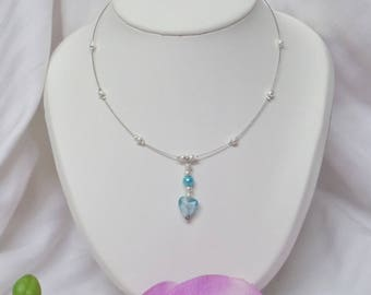 """Wedding or evening necklace sparkling beads and heart lampwork """"PASSION"""""""