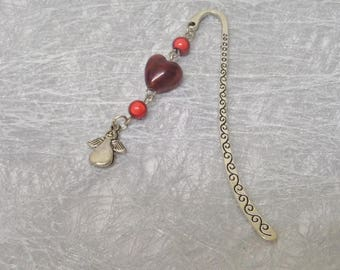 Red lampwork glass heart shape bookmark for book