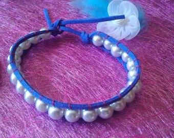 blue grey pearl bracelet