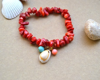 Sailor bracelet red coral beads and shell