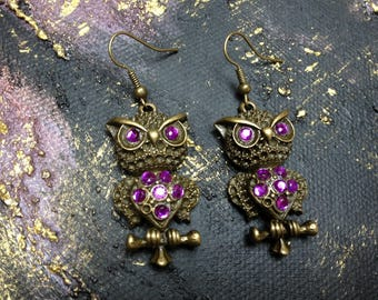Earrings retro OWL purple rhinestones