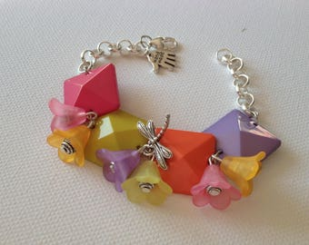 Spring Dragonfly and flowers in bright colors colorblock bracelet