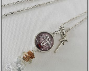 Glass vial and glass cabochon necklace, Wizard, abracadabra, precious treasure