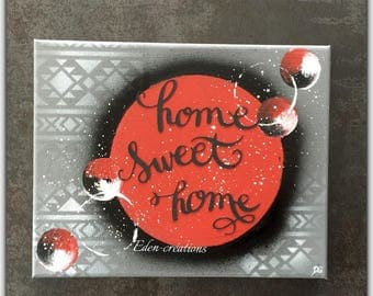 Chalkboard, black and Red home sweet home