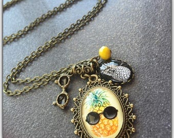 Necklace, pineapple, glass cabochon, bronze, humor, summer