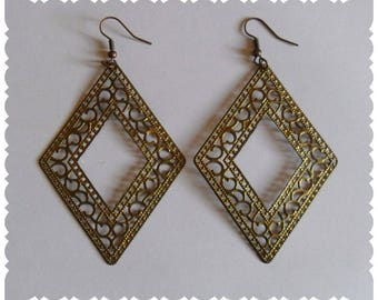 Diamond Earrings gold antiqued filigree