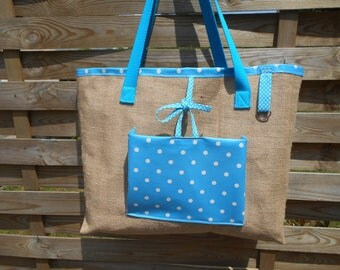 Large burlap and waxed canvas bag