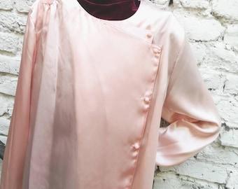 Blouse / fluid blouse iridescent pink Vintage 90's boutonniere