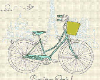 Paris tour Eiffel bike counted cross stitch