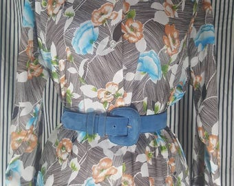 1970s Blue Pansy Blouse