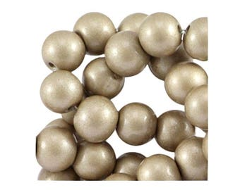 Set of 10 champagne 8 mm glass beads