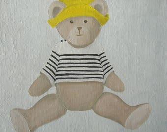 CANVAS Teddy bear children's bedroom - Ref. Sailor