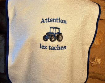 ADULT WHITE TRACTOR WITH LAST NAME TERRY BIB