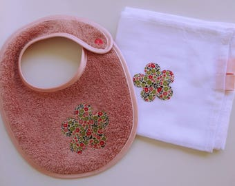 Baby bib girl with mix matched, applied Liberty - birthday gift