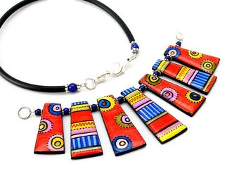 Necklace red and blue