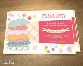 Customizable printable themed birthday invitation: evening pajamas