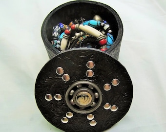 box has handcrafted floral, mechanical, studded leather jewelry
