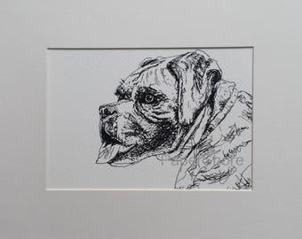 Original Ink Drawing. Boxer Mastiff.