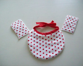 bib for Doll or baby wipes (cotton printed with polka dots)