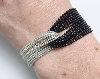 Black and silver ball chain bracelet