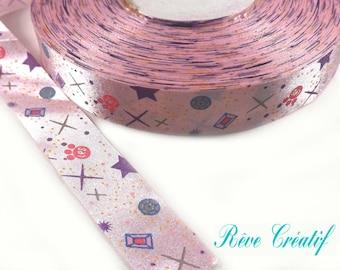 3 meters of Printed Satin Ribbon Pink 25mm