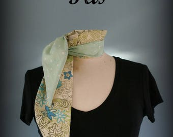 Retro scarf Mint Star and Flower