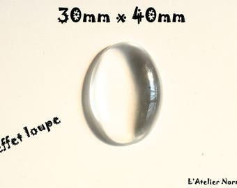Large 40 mm x 30mm Oval glass Cabochon