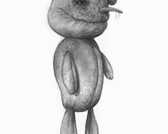 Gothic Abandoned Doll Sketch Illustration