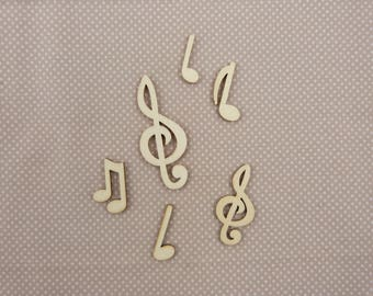 About wooden embellishment: treble clef, music notes