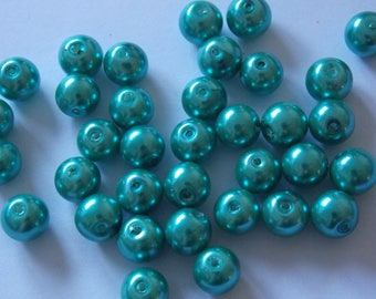 Set of 30 round Emerald 8mm pearls