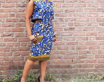 Fab back cutout dress ( african dress/ankara dress / african print dress/ blue dress/ african fashion)