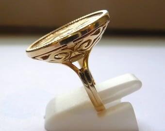 Ring piece 20 Francs Napoleon gold arabesque pierced basket