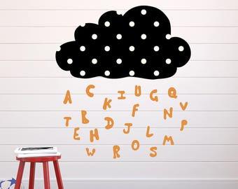 Wandtattoo Buchstabenwolke