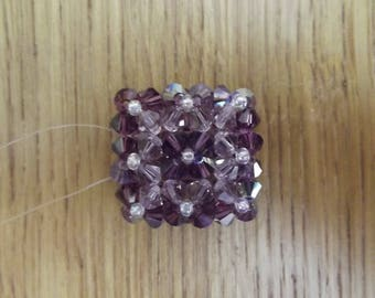 Amethyst swarovski Pearl ring, handmade.
