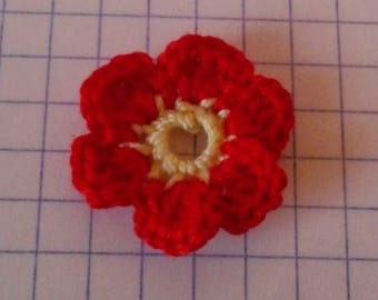 Crochet applique little yellow and red flower for sale individually