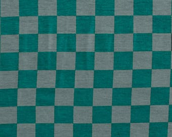 Teal Green Grey Check Modal Cotton Spandex Knit Fabric **UK Seller**