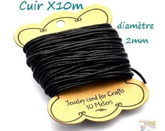 10 m diameter 2mm (cui133) black leather cord