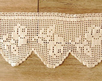Crocheted vintage bise breeze cotton curtain valance old French decor, window dressing, linen inside